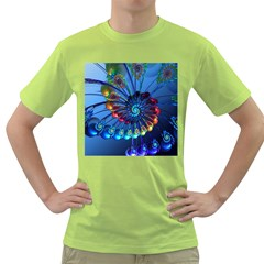 Top Peacock Feathers Green T-Shirt by Mugomugo