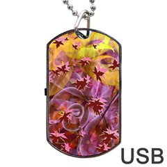 Falling Autumn Leaves Dog Tag Usb Flash (two Sides)  by Contest2489503