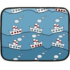 Boats Double Sided Fleece Blanket (mini)  by Valentinaart