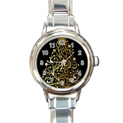 Decorative Starry Christmas Tree Black Gold Elegant Stylish Chic Golden Stars Round Italian Charm Watch by yoursparklingshop
