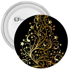 Decorative Starry Christmas Tree Black Gold Elegant Stylish Chic Golden Stars 3  Buttons by yoursparklingshop