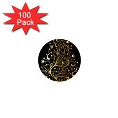 Decorative Starry Christmas Tree Black Gold Elegant Stylish Chic Golden Stars 1  Mini Buttons (100 Pack)  by yoursparklingshop
