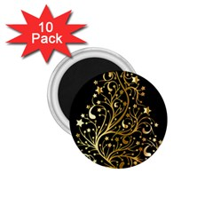 Decorative Starry Christmas Tree Black Gold Elegant Stylish Chic Golden Stars 1 75  Magnets (10 Pack)  by yoursparklingshop