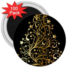 Decorative Starry Christmas Tree Black Gold Elegant Stylish Chic Golden Stars 3  Magnets (100 Pack) by yoursparklingshop