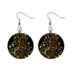 Decorative Starry Christmas Tree Black Gold Elegant Stylish Chic Golden Stars Mini Button Earrings by yoursparklingshop
