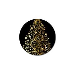 Decorative Starry Christmas Tree Black Gold Elegant Stylish Chic Golden Stars Golf Ball Marker by yoursparklingshop