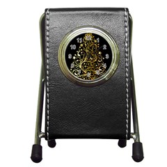 Decorative Starry Christmas Tree Black Gold Elegant Stylish Chic Golden Stars Pen Holder Desk Clocks by yoursparklingshop