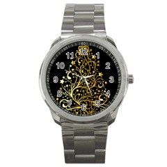 Decorative Starry Christmas Tree Black Gold Elegant Stylish Chic Golden Stars Sport Metal Watch by yoursparklingshop