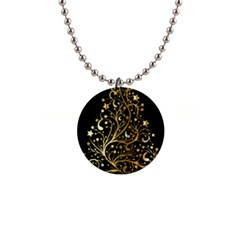 Decorative Starry Christmas Tree Black Gold Elegant Stylish Chic Golden Stars Button Necklaces by yoursparklingshop
