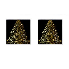 Decorative Starry Christmas Tree Black Gold Elegant Stylish Chic Golden Stars Cufflinks (square) by yoursparklingshop