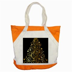 Decorative Starry Christmas Tree Black Gold Elegant Stylish Chic Golden Stars Accent Tote Bag by yoursparklingshop