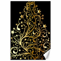 Decorative Starry Christmas Tree Black Gold Elegant Stylish Chic Golden Stars Canvas 12  X 18   by yoursparklingshop