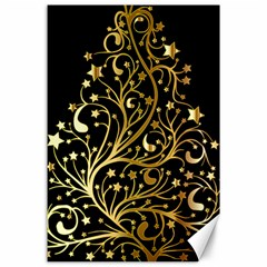 Decorative Starry Christmas Tree Black Gold Elegant Stylish Chic Golden Stars Canvas 24  X 36  by yoursparklingshop