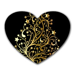 Decorative Starry Christmas Tree Black Gold Elegant Stylish Chic Golden Stars Heart Mousepads by yoursparklingshop