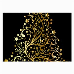 Decorative Starry Christmas Tree Black Gold Elegant Stylish Chic Golden Stars Large Glasses Cloth (2 Side) by yoursparklingshop
