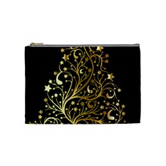 Decorative Starry Christmas Tree Black Gold Elegant Stylish Chic Golden Stars Cosmetic Bag (medium)  by yoursparklingshop