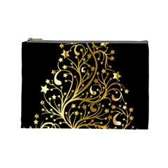 Decorative Starry Christmas Tree Black Gold Elegant Stylish Chic Golden Stars Cosmetic Bag (large)  by yoursparklingshop