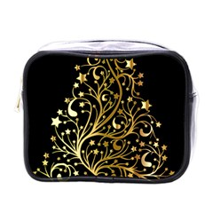 Decorative Starry Christmas Tree Black Gold Elegant Stylish Chic Golden Stars Mini Toiletries Bags by yoursparklingshop