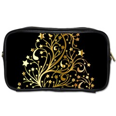 Decorative Starry Christmas Tree Black Gold Elegant Stylish Chic Golden Stars Toiletries Bags 2 Side by yoursparklingshop