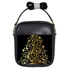 Decorative Starry Christmas Tree Black Gold Elegant Stylish Chic Golden Stars Girls Sling Bags by yoursparklingshop