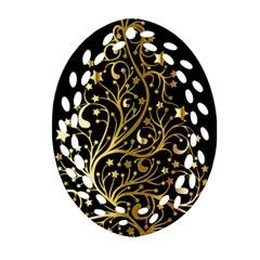 Decorative Starry Christmas Tree Black Gold Elegant Stylish Chic Golden Stars Ornament (oval Filigree)  by yoursparklingshop