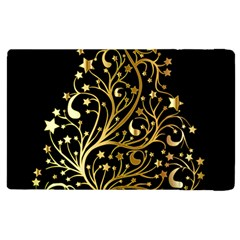 Decorative Starry Christmas Tree Black Gold Elegant Stylish Chic Golden Stars Apple Ipad 2 Flip Case by yoursparklingshop