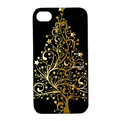 Decorative Starry Christmas Tree Black Gold Elegant Stylish Chic Golden Stars Apple Iphone 4/4s Hardshell Case With Stand by yoursparklingshop