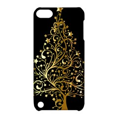 Decorative Starry Christmas Tree Black Gold Elegant Stylish Chic Golden Stars Apple Ipod Touch 5 Hardshell Case With Stand by yoursparklingshop