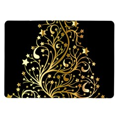 Decorative Starry Christmas Tree Black Gold Elegant Stylish Chic Golden Stars Samsung Galaxy Tab 10 1  P7500 Flip Case by yoursparklingshop