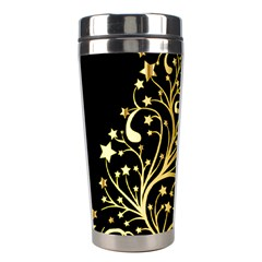 Decorative Starry Christmas Tree Black Gold Elegant Stylish Chic Golden Stars Stainless Steel Travel Tumblers by yoursparklingshop
