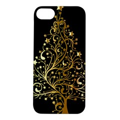 Decorative Starry Christmas Tree Black Gold Elegant Stylish Chic Golden Stars Apple Iphone 5s/ Se Hardshell Case by yoursparklingshop