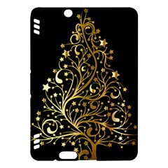 Decorative Starry Christmas Tree Black Gold Elegant Stylish Chic Golden Stars Kindle Fire Hdx Hardshell Case by yoursparklingshop