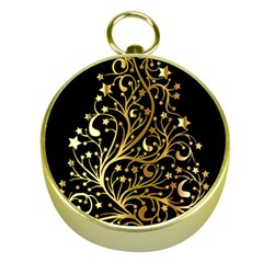 Decorative Starry Christmas Tree Black Gold Elegant Stylish Chic Golden Stars Gold Compasses by yoursparklingshop