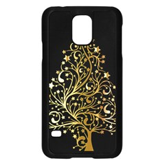 Decorative Starry Christmas Tree Black Gold Elegant Stylish Chic Golden Stars Samsung Galaxy S5 Case (black) by yoursparklingshop