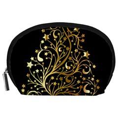 Decorative Starry Christmas Tree Black Gold Elegant Stylish Chic Golden Stars Accessory Pouches (large)  by yoursparklingshop