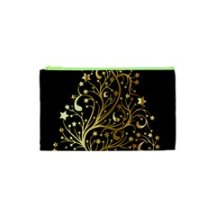 Decorative Starry Christmas Tree Black Gold Elegant Stylish Chic Golden Stars Cosmetic Bag (xs) by yoursparklingshop