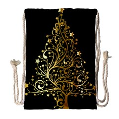Decorative Starry Christmas Tree Black Gold Elegant Stylish Chic Golden Stars Drawstring Bag (large) by yoursparklingshop