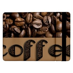 Funny Coffee Beans Brown Typography Samsung Galaxy Tab Pro 12 2  Flip Case by yoursparklingshop