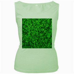 Shamrock Clovers Green Irish St  Patrick Ireland Good Luck Symbol 8000 Sv Women s Green Tank Top by yoursparklingshop