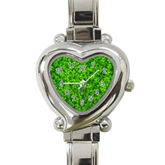 Shamrock Clovers Green Irish St  Patrick Ireland Good Luck Symbol 8000 Sv Heart Italian Charm Watch by yoursparklingshop