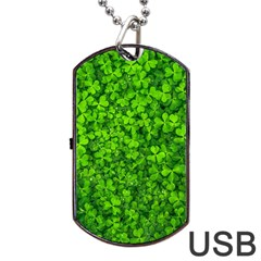 Shamrock Clovers Green Irish St  Patrick Ireland Good Luck Symbol 8000 Sv Dog Tag Usb Flash (one Side) by yoursparklingshop