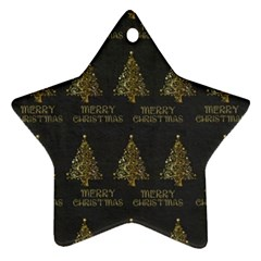 Merry Christmas Tree Typography Black And Gold Festive Ornament (star)