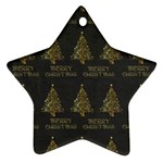 Merry Christmas Tree Typography Black And Gold Festive Ornament (Star)  Front
