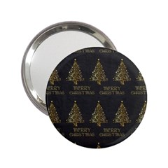 Merry Christmas Tree Typography Black And Gold Festive 2 25  Handbag Mirrors by yoursparklingshop