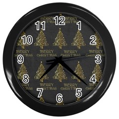 Merry Christmas Tree Typography Black And Gold Festive Wall Clocks (black) by yoursparklingshop