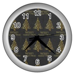Merry Christmas Tree Typography Black And Gold Festive Wall Clocks (silver)  by yoursparklingshop