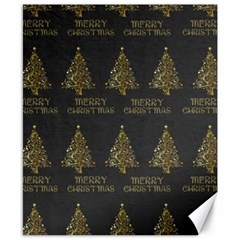 Merry Christmas Tree Typography Black And Gold Festive Canvas 8  X 10  by yoursparklingshop