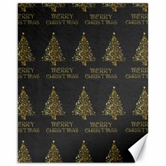 Merry Christmas Tree Typography Black And Gold Festive Canvas 16  X 20   by yoursparklingshop