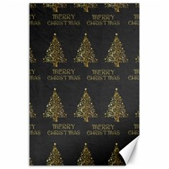 Merry Christmas Tree Typography Black And Gold Festive Canvas 20  X 30   by yoursparklingshop