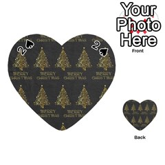 Merry Christmas Tree Typography Black And Gold Festive Playing Cards 54 (heart)  by yoursparklingshop